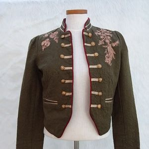 Free People Moss Jacket Embroidered Military Band